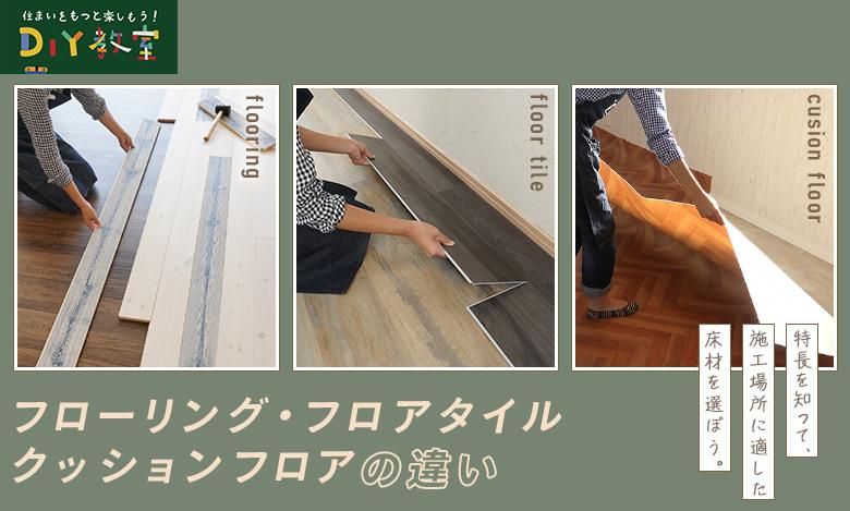 フローリング・クッションフロア・フロアタイルの違いページ看板