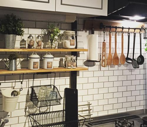 DIY キッチン レンガ壁紙